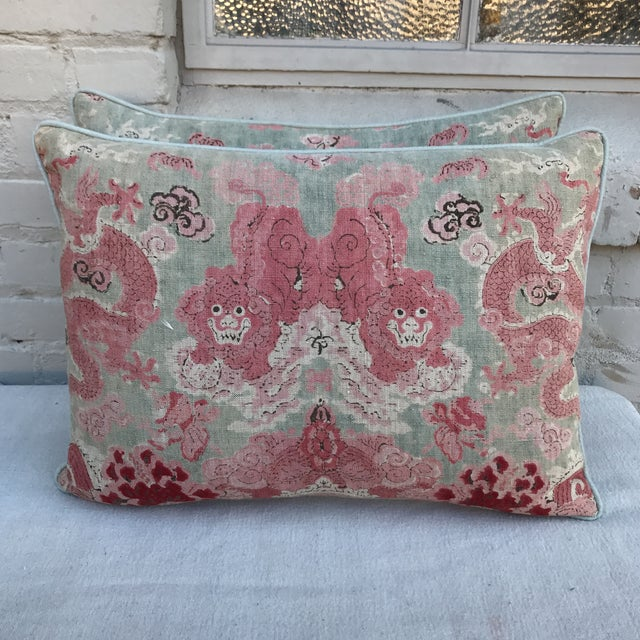 Chinoiserie Foo Dog Pillows - A Pair - Image 2 of 4
