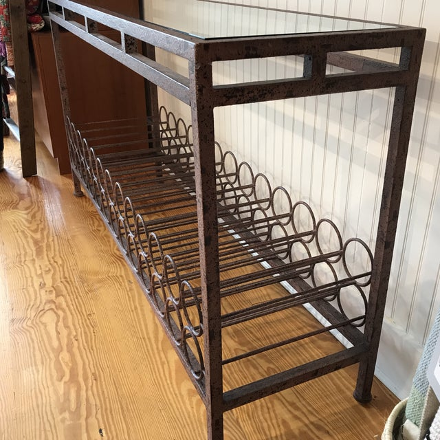 Wrought Iron Wine Rack Console Table For Sale - Image 4 of 13