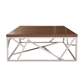 Contemporary Modern Silver & Wood Coffee Table