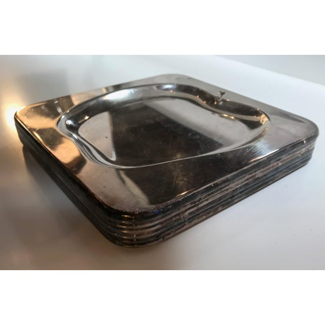 1970s Vintage Italian Chrome Square Cocktail Plates - Set of 6 For Sale In Los Angeles - Image 6 of 8
