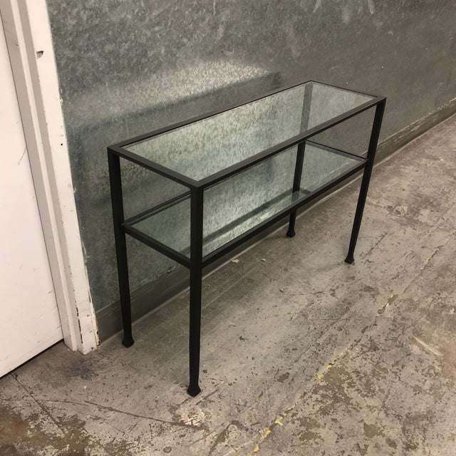 Contemporary Black Iron + Glass Console Table For Sale - Image 3 of 5