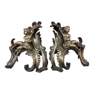 Pair 19th Century Solid Bronze Andirons - Bookends For Sale