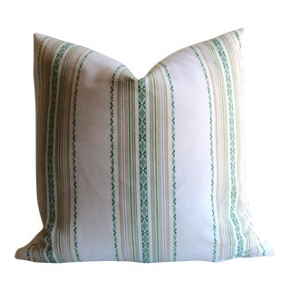 Embroidered Green Stripe Pillow