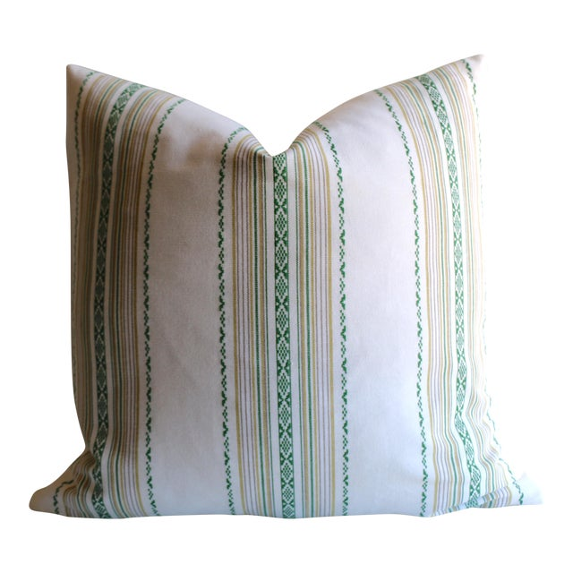 Embroidered Green Stripe Pillow - Image 1 of 4
