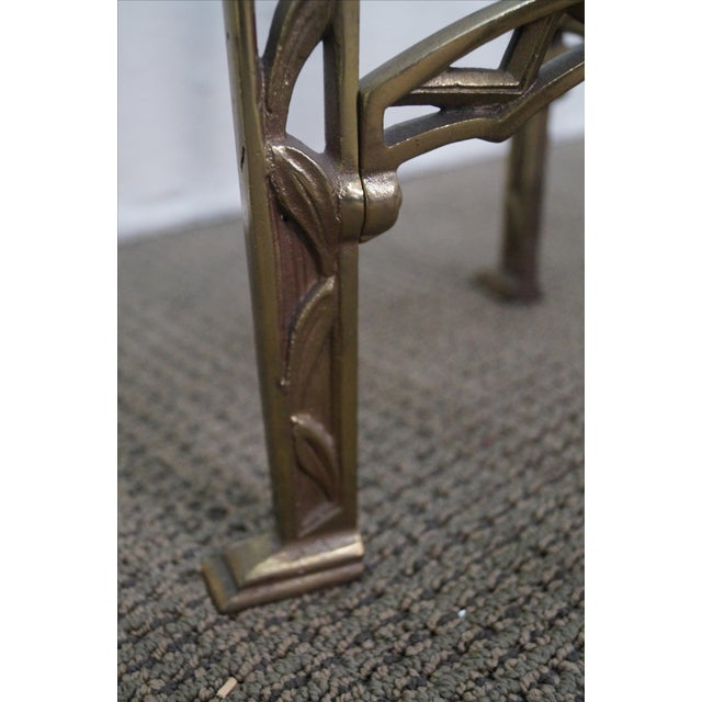 Art Deco Antique Brass & Glass Round Side Table - Image 5 of 10