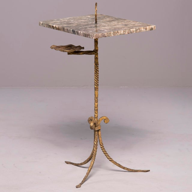 Spanish Marble and Gilt Iron Side Table With Ashtray Holder For Sale - Image 12 of 12