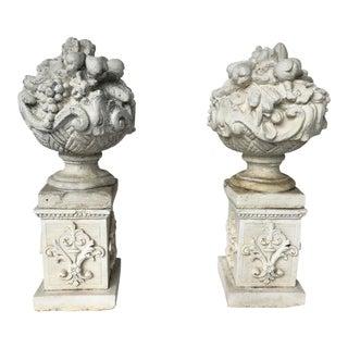 Vintage Mid Century Cast Stone Fruit Basket Finials on Pedestals- a Pair For Sale