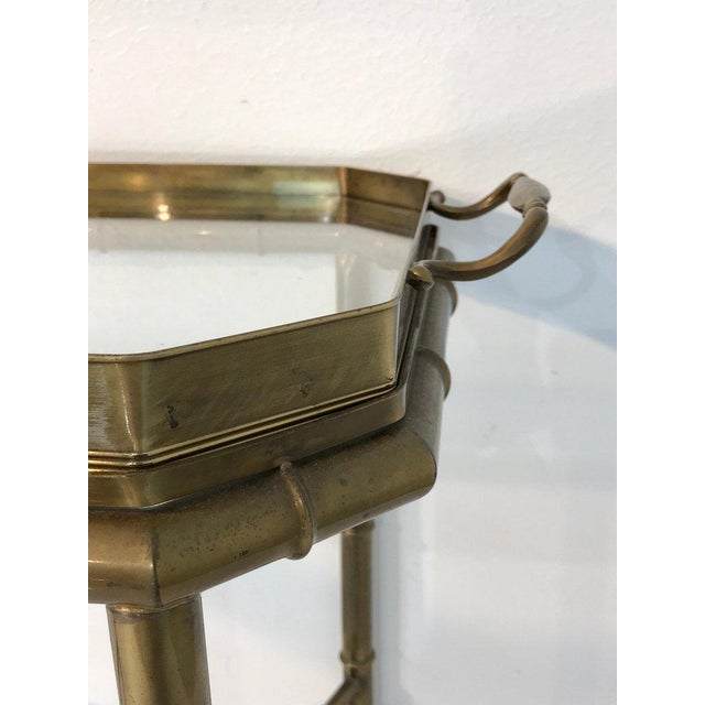 Late 20th Century Faux Bois Campaign Style Patinated Brass Tray Table, by Mastercraft For Sale - Image 5 of 9