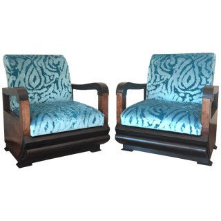 Pair of Art Deco Club Chair With Turqueoise Velvet by Lizzo, Italy For Sale