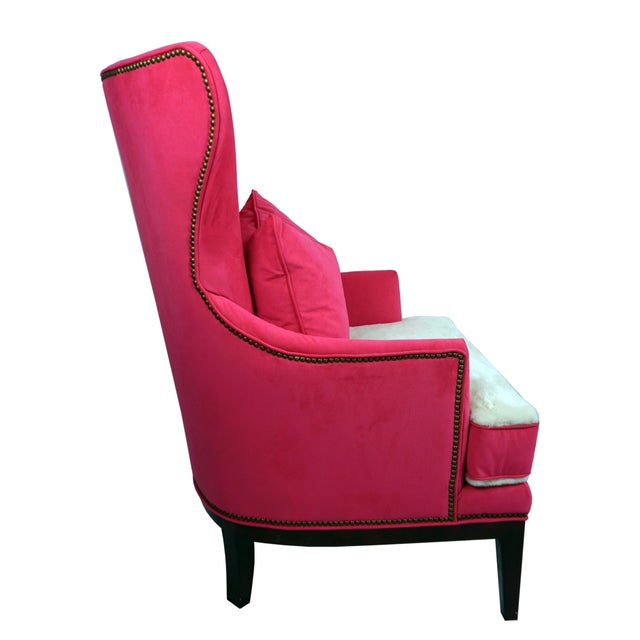 Hollywood Regency BiltWell Showroom Hot Pink Faux Fur Wing Chair For Sale - Image 3 of 8