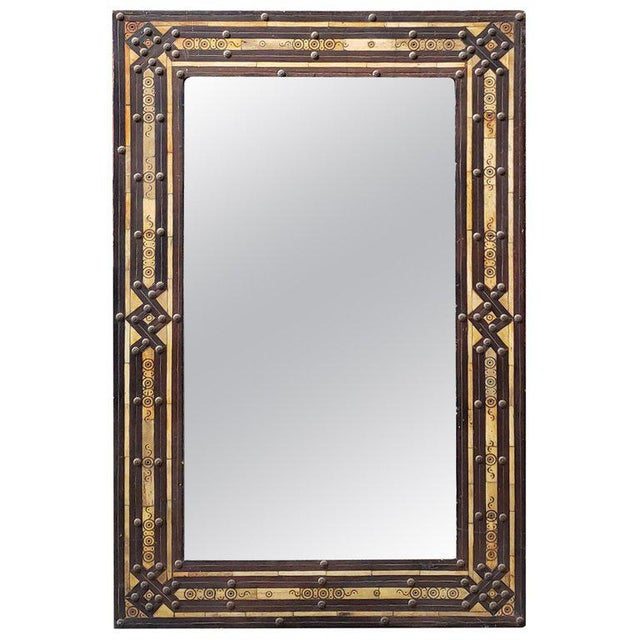Metal Moroccan Rectangular Metal Inlay Mirror For Sale - Image 7 of 7