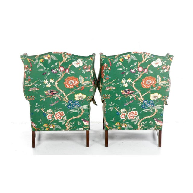 Vintage George III Style Wingback Chairs - a Pair For Sale - Image 4 of 10