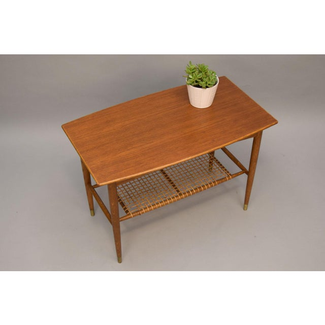 Folke Ohlsson Teak, Oak & Cane Side Table For Sale In Portland, ME - Image 6 of 8