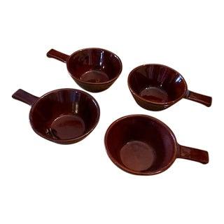 Mid-Century Modern Mar-Crest Daisy Dot Onion Soup Bowl Brown Glaze Bowl With Handle - 4 Pieces For Sale