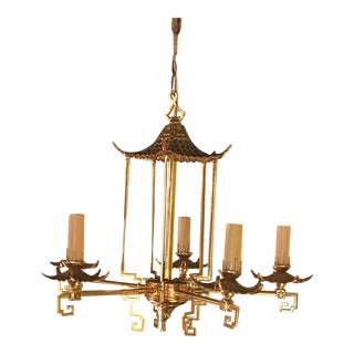Vintage Chinoiserie Greek Key Brass Pagoda Chandelier For Sale