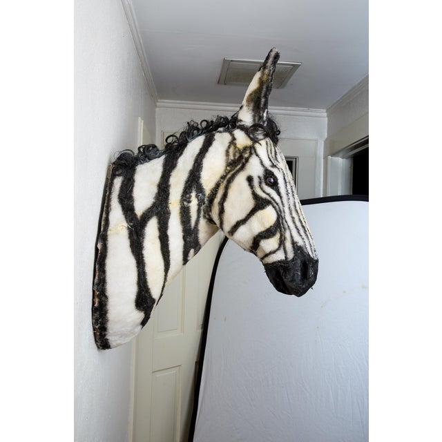 Animal Skin Artisan Sculpture of Zebra Using Faux Materials For Sale - Image 7 of 9