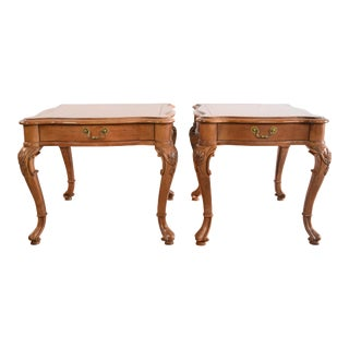 19th Century Neoclassical Style Walnut End Table - a Pair