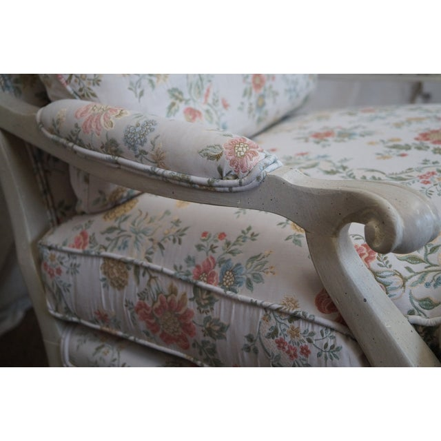 Large French Style Paint Frame Lounge Chair - Pair - Image 7 of 10