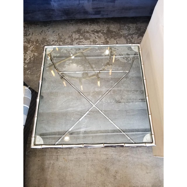 Contemporary Contemporary William Sonoma Bamboo Motif Chrome & Glass Side Table For Sale - Image 3 of 4