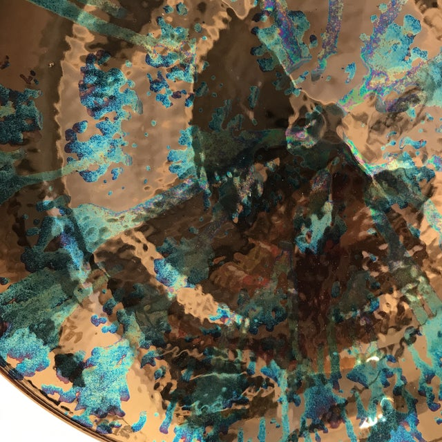 Artist Blue and Bronze Abstract Decorative Platter - Image 4 of 8
