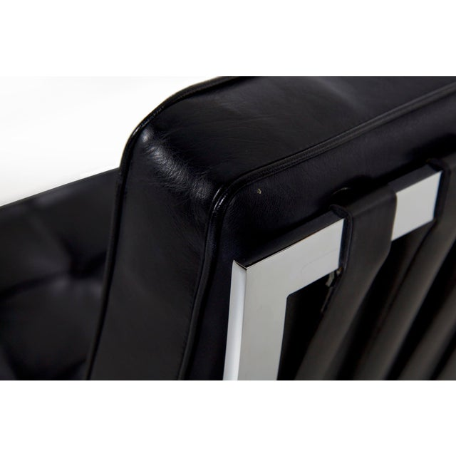 Mid Century Modern Black Leather and Chrome Steel Barcelona Chair, Circa 21st Century For Sale - Image 6 of 13