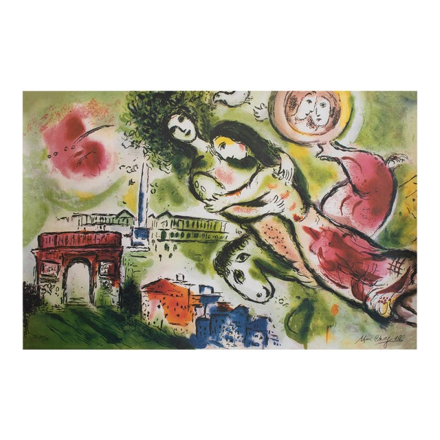 """Marc Chagall """"The Flying Bouquet"""", XL Limited Edition Print With C. O. A., C.1990s For Sale"""