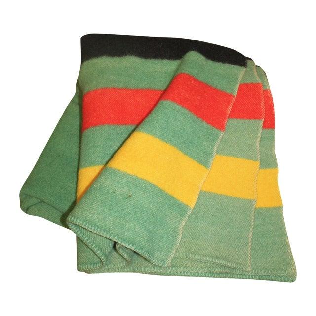 Vintage Colorful Stripe Wool Blanket - Image 1 of 4