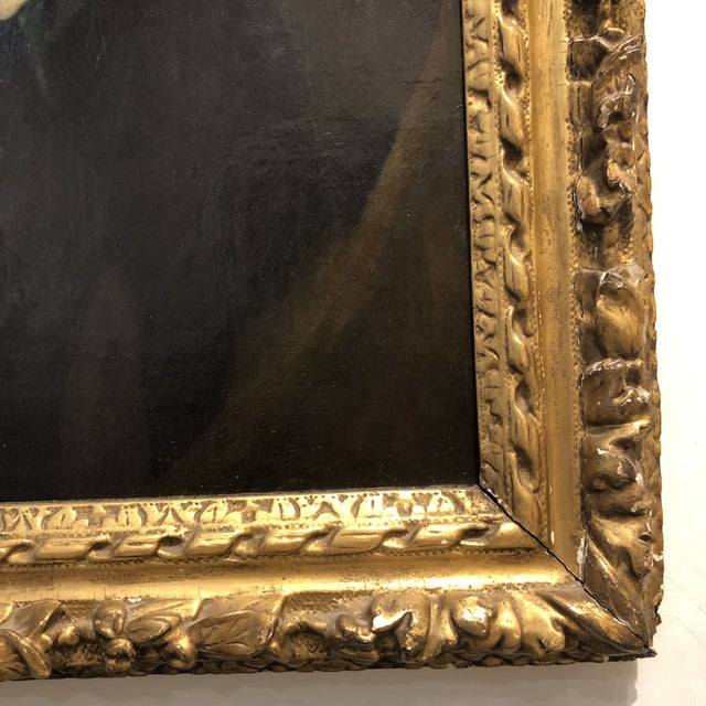 18th Century Portrait of a Noble Woman in Carved Gilt Frame For Sale - Image 10 of 13