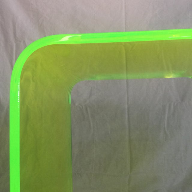 "Acrylic ""The Long Game"" Coffee Table in Neon Green For Sale - Image 7 of 11"