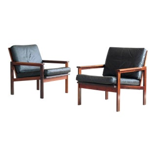 Pair of Danish Illum Wikkelsø Easy Chairs Model Capella in Rosewood and Leather For Sale