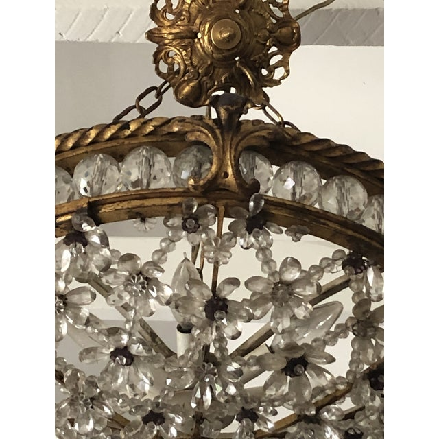 Mid 19th Century Antique Bronze & Crystal French Chandelier Pendant For Sale - Image 5 of 13