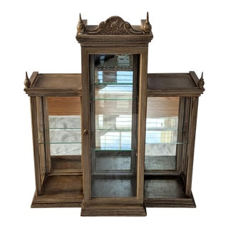 1940s Vintage Wall Mounted Curio Cabinet For Sale