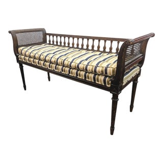 Louis XVI Dark Walnut & Cane Bench For Sale
