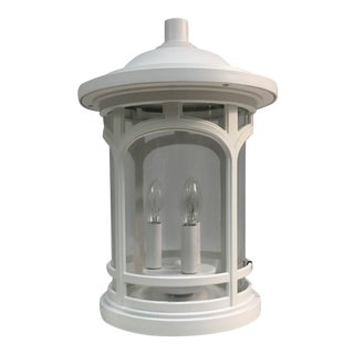 Quoizel Seedy Glass Outdoor Post Lantern in White Lustre For Sale