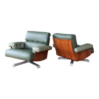 Pair of Brazilian Rosewood Chairs With Leather Upholstery, Brazil, 1960s For Sale