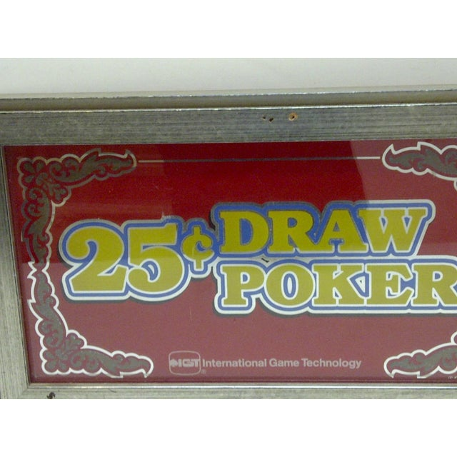 Americana C. 1970 Glass Display Top 25 Cent Draw Poker Machine Sign For Sale - Image 3 of 5