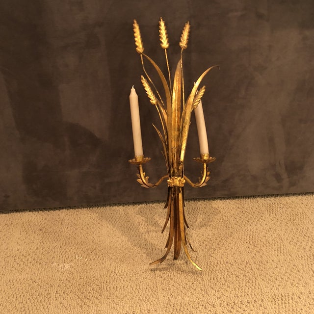 Italian Gold Wheat Sconce For Sale - Image 4 of 5