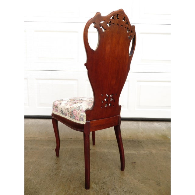 Late 19th Century Antique French Carved Mahogany Art Nouveau Side Chair For Sale - Image 11 of 13