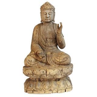 Vintage Wood Carved Buddha For Sale
