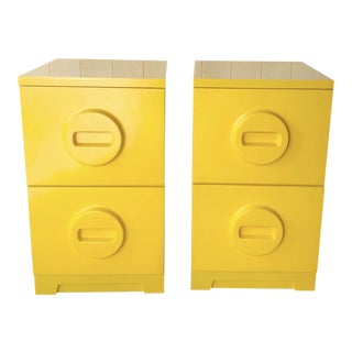 Retro 1970's Yellow Plastic Akro-Mils Filing Cabinets For Sale