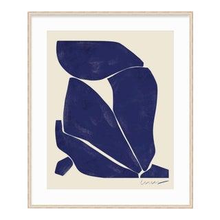 Modern Composition Indigo Print, Framed For Sale