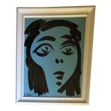 Image of Original Vintage Peter Robert Keil Blue Portrait Abstract Painting For Sale