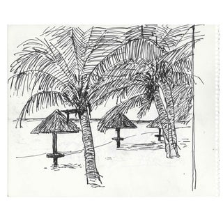 Beach Drawing by Heyward Cirker 1970s For Sale