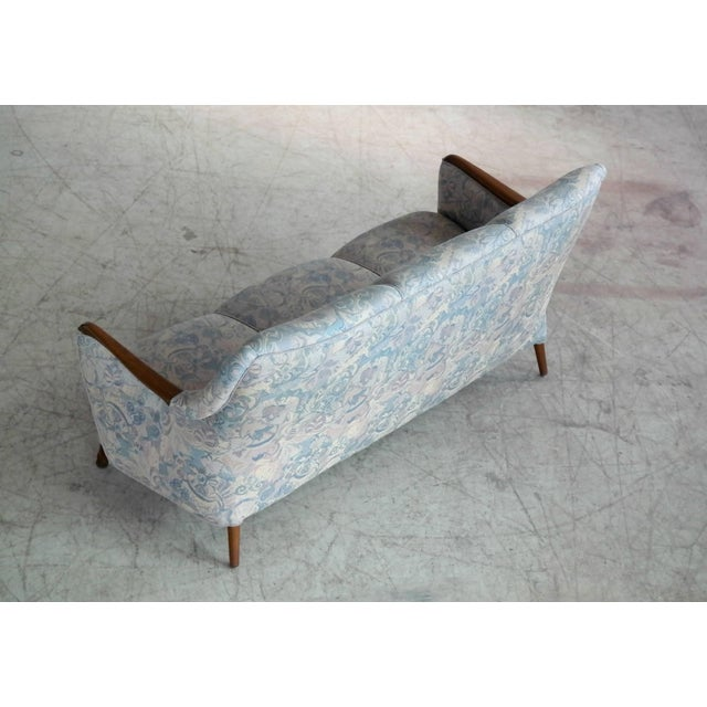Gold Danish Midcentury Sofa With Teak Armrests For Sale - Image 8 of 10