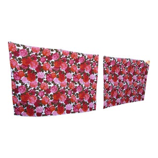 1960s Large Floral Blooms Drapery or Upholstery Fabric in Pink, Red, Orange - 2 Pieces