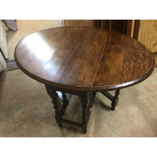 1940s Small English Barley Twist Oak Gateleg Table For Sale - Image 4 of 6