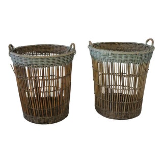French Harvest Basket With Pale Aqua Paint - a Pair For Sale