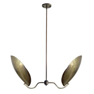 "Double Arm Raw Brass ""Chiton"" Chandelier For Sale"
