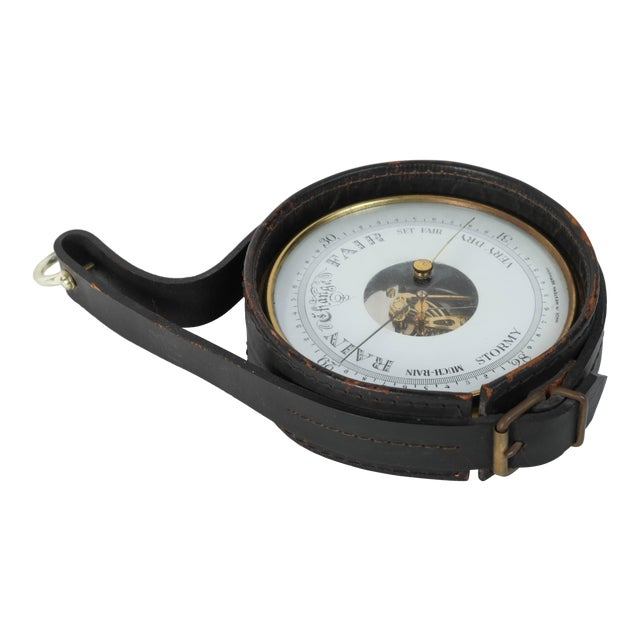 Brass German Barometer with Readings in English Wrapped in Leather For Sale