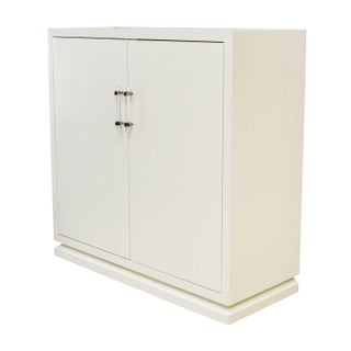 Ivory Lacquered Cabinet with Lucite Handles For Sale